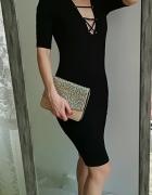 Black Note sznurowana czarna sukienka L