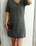 BCBGMaxazira sukienka sweterkowa szara wełna M...