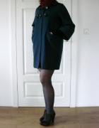 Granatowy wełniany płaszcz oversize trapezowy