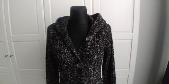 Długi sweter z kapturem melanż