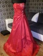 Gorsetowa długa suknia czerwona 36 38...