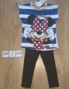 Bluzka z krótki rękaw Myszka Minni Mouse czarne leginsy getry 1...