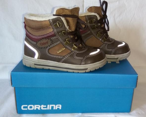 Nowe brązowe bardzo ciepłe kozaki chłopięce Cortina Deltex 24
