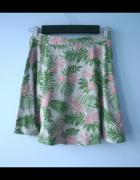 HM spódniczka dresowa szara tropical wzory kwiaty...
