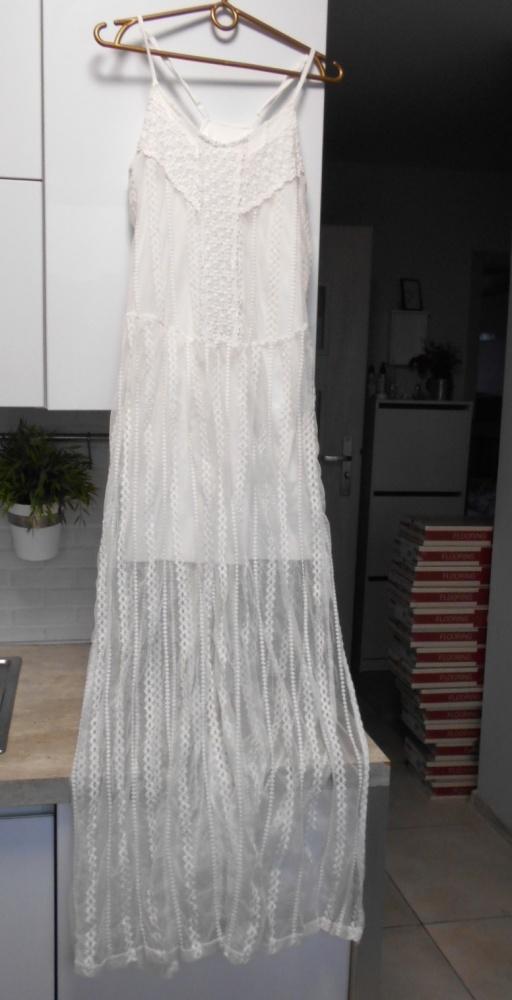 Suknie i sukienki asos sukienka maxi koronkowa biała klasyka minimalizm