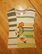 bluzka z kwiatem w paski ptomasik rozmiar 44 pierwsza jakość...