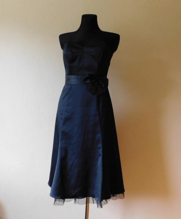 Suknie i sukienki Warehouse czarna sukienka gorset midi 36 38