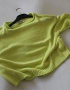 limonkowy sweterek oversize z dzianiny xs...