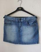 mini jeansowa spódniczka promod...