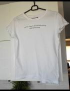 Sinsay tshirt biały koszulka z napisem print...