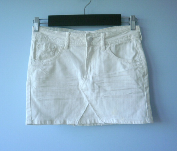 Spódnice HM jeansowa spódniczka biała mini jeans