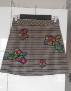Zara nowa spódniczka hafty kratka retro...