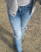 Jeansy rurki Zara s dziury przetarcia...
