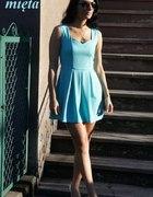 miętowa sukienka z kontrafałdą...