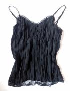 New Look czarna bluzka na szelkach mięta top na sz...