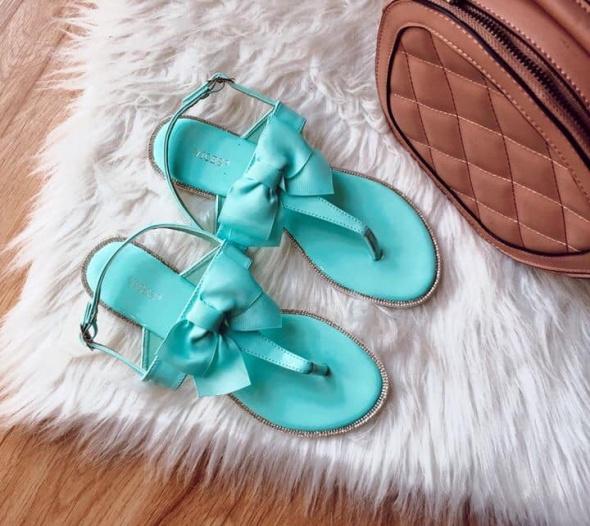 Sandały Sandały Damskie z kokardą Vices 38 turkus