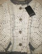 MARC O POLO biało szary sweterek dziewczęcy roz 98