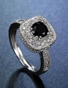 Nowy duży pierścionek srebrny kolor czarna cyrkonia retro króle...