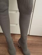 Wysokie buty nad kolano przeźroczysty obcas Chc Shoes muszkiete...