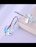 Kolczyki Swarovski Elements Crystal AB serca serduszka srebrne ...