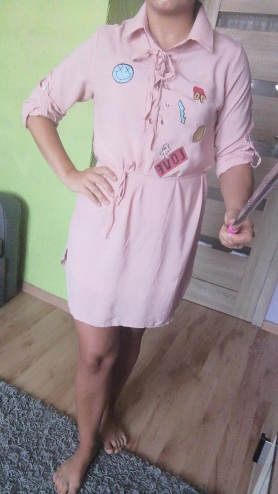 Nowa sukienka tunika pudrowa roz M