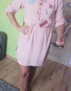 Nowa sukienka tunika pudrowa roz M...