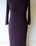 Sukienka H&M Basic S 36 Long Długa Fioletowa