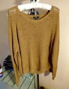 H&M sweter oversize L brązowy M S dzianina luźny...