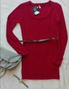Sweter długi z paskiem czerwony 36 S