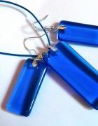 Niebieski kryształ prostokąty w srebrze zestaw...