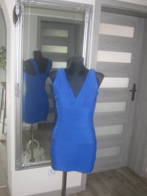 sukienka bodycon bandażowa kobaltowa