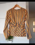 Primark satynowa bluzka paski musztardowa elegancka wiązana...