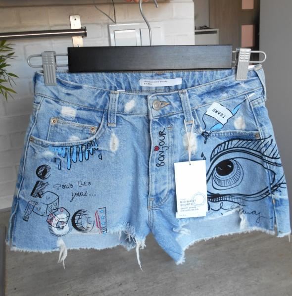 Spodenki Zara nowe szorty spodenki jeans jeansowe wzory nadruk print