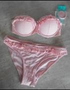 HM nowe bikini falbanki pudrowy róż push up...