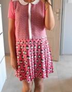 Next sukienka różowa retro plisowana wzory kołnierzyk collar...