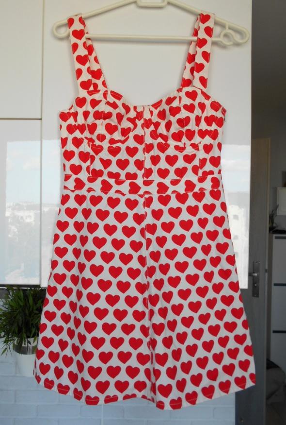 Topshop gorsetowa sukienka serca wzory serduszka print...