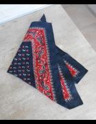 vintage retro satynowa apaszka chusta wzory print...