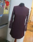 sukienka prosta TOP SHOP 38 koronkowy rękaw bordo...