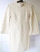 Sukienka H&M S 36 Beżowa Beż Koronkowa Koronka...