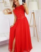 Długa wieczorowa sukienka czerwona 44 46 48...