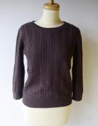 Sweter Fioletowy H&M Warkocze M 38 Wełna Fiolet...