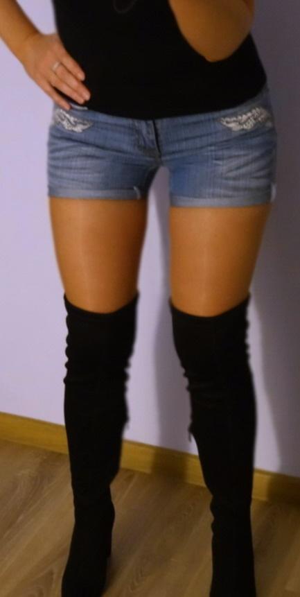Spodenki Spodenki jeansowe aplikacje skrzydła