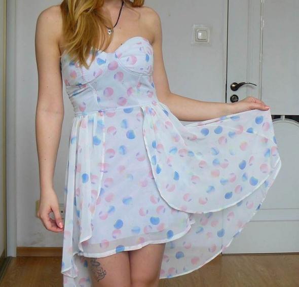 Piękna asymetryczna sukienka Bershka S pastelowa...