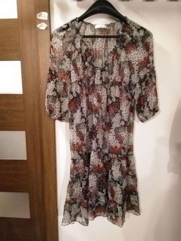 Sukienka mgiełka w kwiaty hippie etno boho Promod rozmiar 38...