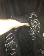Spódnica czarna długa efektowne białe kwiaty gumka r 44 52...