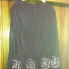 Spódnica czarna długa efektowne białe kwiaty gumka r 44 52