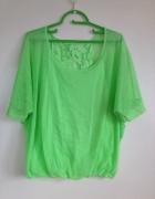 Zielona oczojebna bluzka koronkowa oversize używana M L 38 40 l...