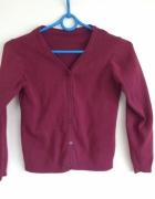 bordowy bluzka sweter kardigan dziecięcy 7 8 years czerwony...