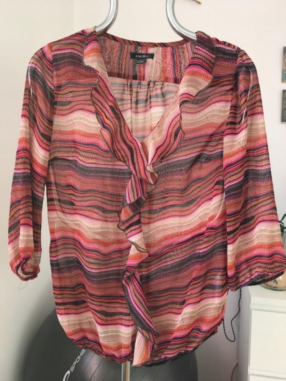 Różowa bluzka z falbankami Amisu M...