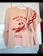 Cropp nowy komplet bluza szorty pudrowy róż retro...